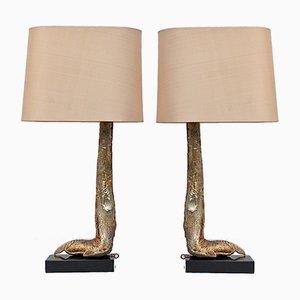 Lampes Ostrich Leg en Argent sur Base en Marbre