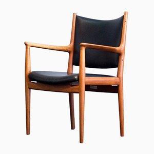Vintage JH 513 Stuhl aus Teak & Leder von Hans J. Wegner für Johannes Hansen