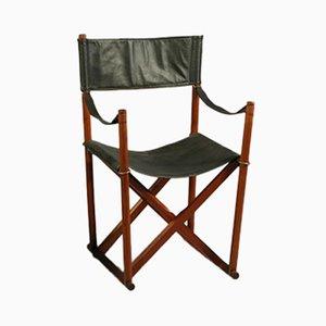 Silla plegable Safari de teca, latón y cuero negro de Mogens Koch para Rud. Rasmussen, años 60