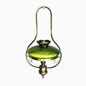 Lámpara antigua austriaca modernista con pantalla de vidrio
