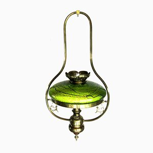 Lampe Art Nouveau Antique avec Abat-Jour en Verre, Autriche