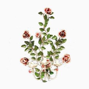 Lámparas de pared grandes esmaltadas con rosas pintadas a mano, años 70. Juego de 2