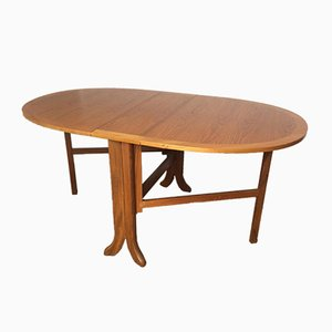 Mesa de comedor Mid-Century plegable ovalada de teca de Nathan