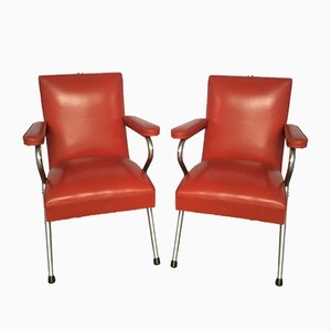 Chrome and Red Vinyl Salon Chairs, 1960s, Set of 2
