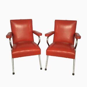 Sillas de salón de cromo y vinilo rojo, años 60. Juego de 2