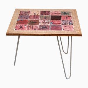 Tavolino con motivo ad insetti di Roger Bonduel per Domus Leuven, anni '50