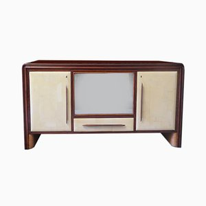 Italian Parchment & Glass Sideboard, 1950s