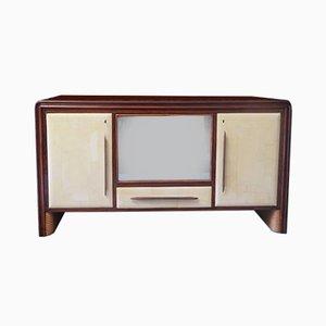 Italienisches Sideboard aus Pergament & Glas, 1950er