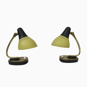 Italian Table Lamps in Brass Lacquered in Yellow and Black, 1950s, Set of 2