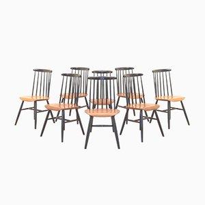 Vintage Fanett Black & Teak Dining Chairs by Ilmari Tapiovaara, Set of 8