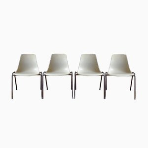 Mid-Century 224 Fiberglas Chairs by Georg Leowald for Wilkhahn, Set of 4