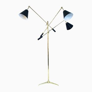 Italian Triennial Bronze Floor Lamp by Angelo Lelli for Arredoluce, 1980s