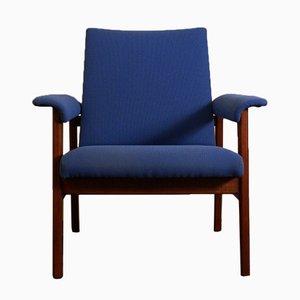 Easy Chair in Blue Fabric and Mahogany, 1960s