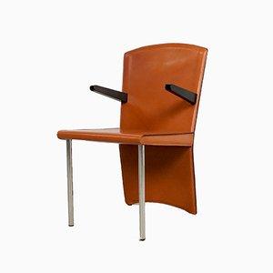 Cognacfarbener Vintage Leder Esszimmerstuhl von Andrea Branzi für Zanotta