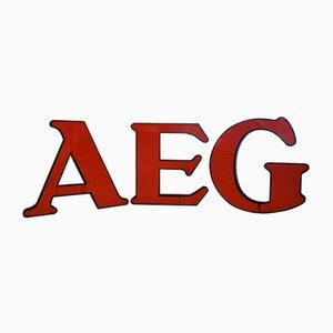 Letras del logotipo de la compañia alemana AEG de Peter Behrens, años 50