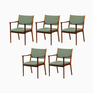 PJ 412 Mahagony & Blue Fabric Armchairs by Ole Wanscher for Poul Jeppesens Møbelfabrik, 1960s, Set of 5