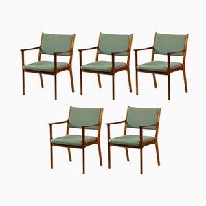 PJ 412 Mahagony & Blue Fabric Armchairs by Ole Wanscher for Poul Jeppesens Møbelfabrik, 1960s, Set of 5