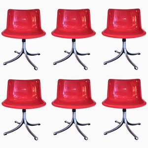 Italian Chairs by Osvaldo Borsani for Tecno, 1970s, Set of 6