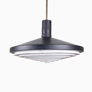 Lámpara colgante industrial Mid-Century en forma de disco de metal en blanco y negro