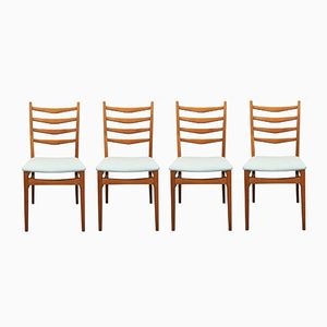 German Chairs with Light Blue Upholstery, 1950s, Set of 4