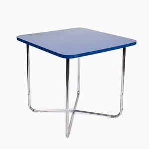 Mesa vintage azul con base tubular de cromo