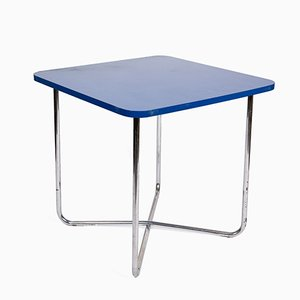 Vintage Blue Table with Tubular Chrome Base