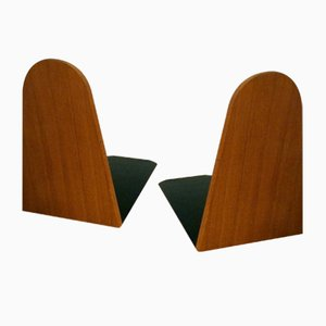 Danish Teak & Metal Bookends, 1950s, Set of 2