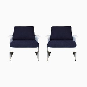 White & Blue Italian Armchairs, 1970s, Set of 2