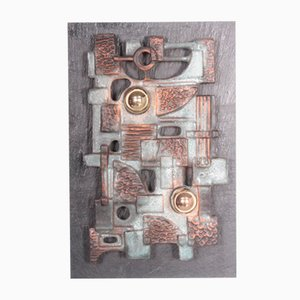 Vintage Brutalist Wall Light Sculpture