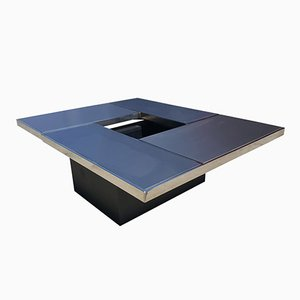 Mesa de centro deslizante con mueble bar oculto de Belgo Chrom, 1975