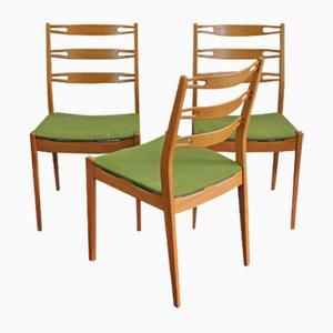 Chaises en Teck avec Tapisserie Verte, 1960s, Set de 3