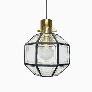German Iron & Clear Glass Pendant Light from Limburg, 1960s