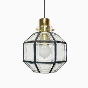 Lampe à Suspension en Fer et Verre Transparent de Limburg, Allemagne, 1960s