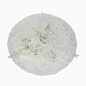 Large Round Ice Glass Flush Mount from Kaiser, 1970s