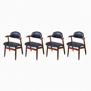 Cowhorn Dining Chairs by Tijsseling for Hulmefa Nieuwe-Pekela, 1960s, Set of 4