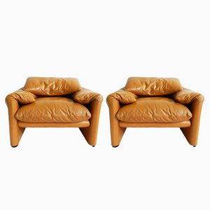 Vintage Maralunga Armchairs by Vico Magistretti for Cassina, Set of 2