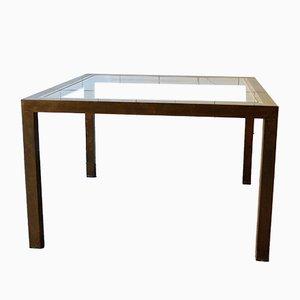 Tavolino da caffè quadrato in ottone e vetro, anni '70