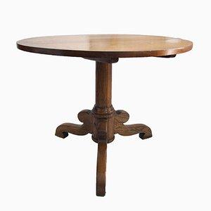 Tavolo rotondo antico in quercia e frassino