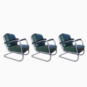 Deutsche Freischwinger Bauhaus Stühle aus Stahlrohr von Mauser Werke, 1930er, 3er Set