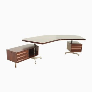 Rosewood Boomerang Desk by Osvaldo Borsani for Tecno, 1960s