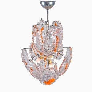 Lámpara de araña vintage con medallones naranjas