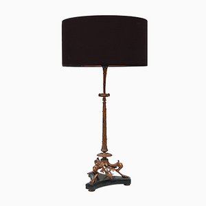 Bronze Table Lamp with Panther Heads on Black Marble Base, 19th Century