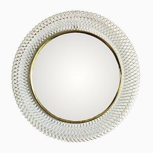 Espejo Mid-Century con marco de metal tejido
