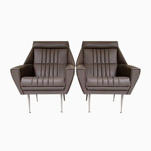 Mid-Century Leather Lounge Chairs, 1955, Set of 2