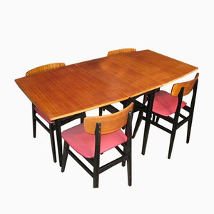 Danish Table and 4 Chairs on Ebonized Base, 1950s