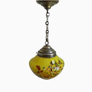 Art Deco French Pendant Lamp with Yellow Sphere and Chain