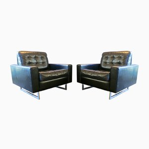 Vintage Black Leather Armchairs from de Sede, Set of 2