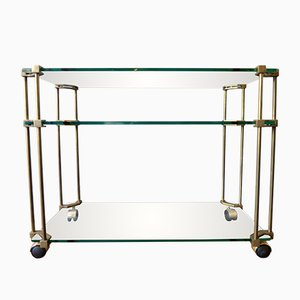 Vintage Brass and Glass Bar Cart by Peter Ghyczy