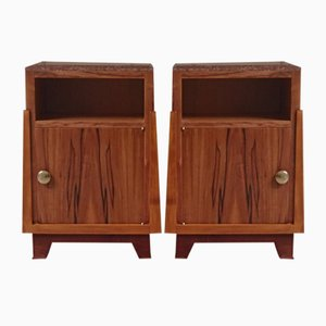 Vintage Applewood Bedside Tables with Red Marble Top, Set of 2