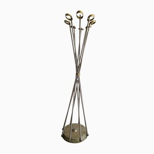 Vintage Brass and Steel Italian Hat and Coat Stand